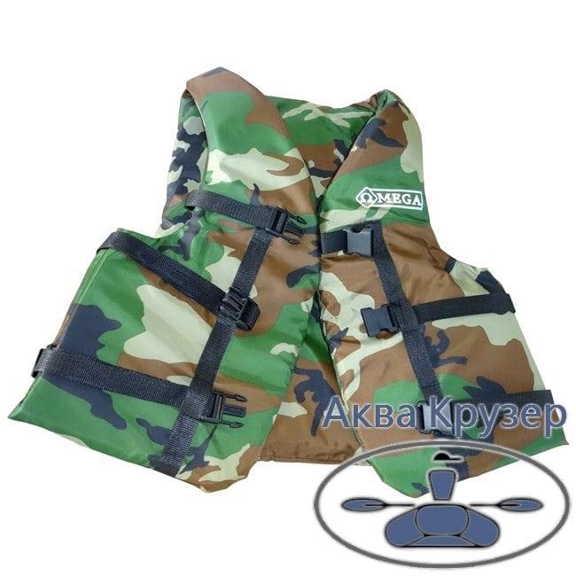 Страховочный (спасательный)  жилет универсальный, 50-70 кг, камуфляж