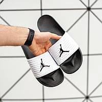 Мужские шлепанцы Jоrdan black&white (сланцы джордан) (Реплика ААА+)
