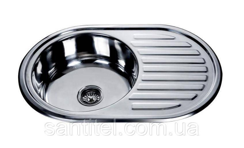 Kraft 7750 Мойка круглая с полкой (кепка) 770х500х180 Decor