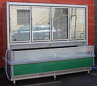 Морозильная витрина бонета «Росс Milano» 2.4 м. (Украина), очень широкая выкладка 84 см., Б/у