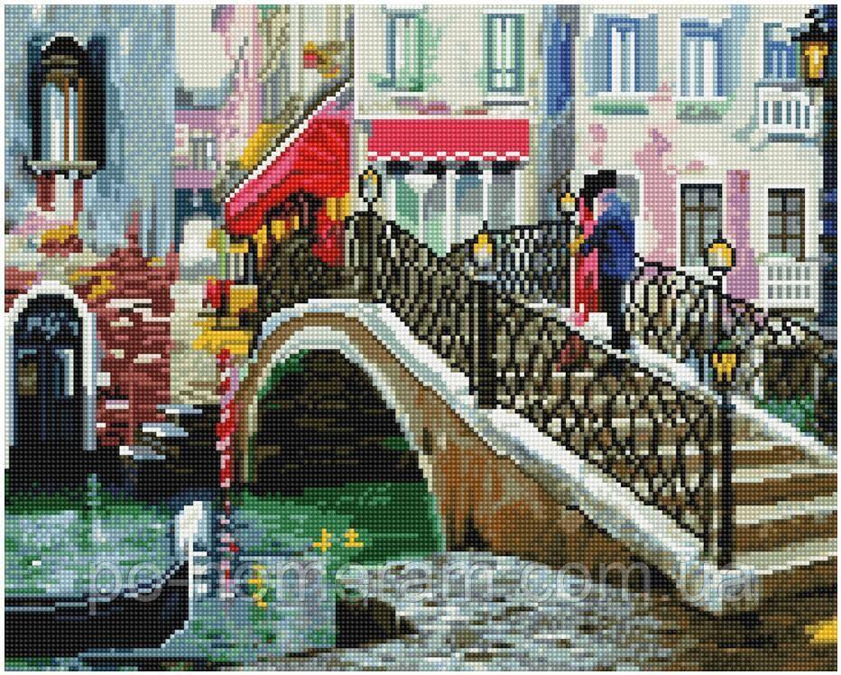Вышивание камнями Никитошка Мост влюбленных (GJ2776) 40 х 50 см (На подрамнике)