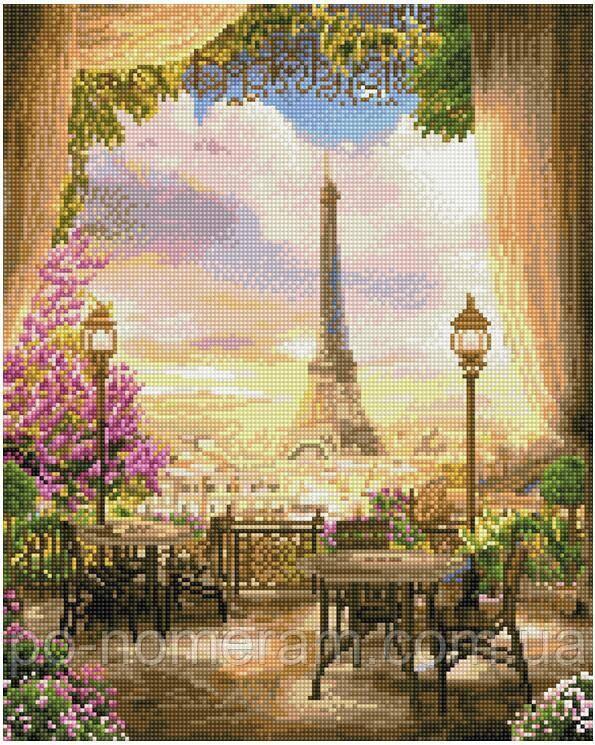 Рисование камнями на холсте Никитошка Парижское кафе (GJ2991) 40 х 50 см (На подрамнике)