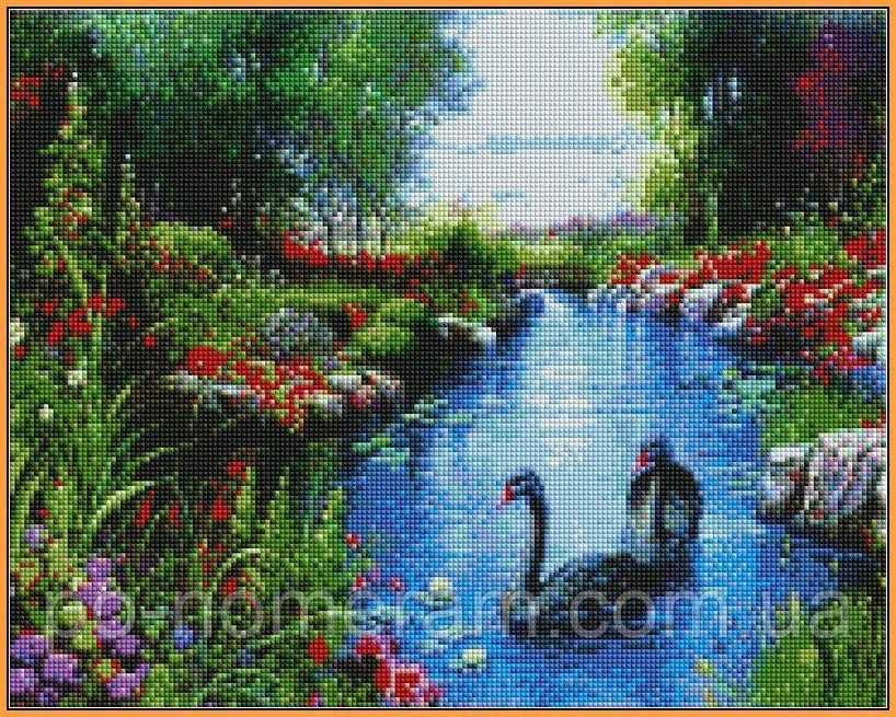 Набор алмазная мозаика Babylon Черные лебеди (ST127) 40 х 50 см (На подрамнике)