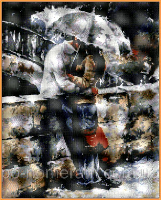 Картина из мозаики Babylon Любовь под дождем (ST314) 40 х 50 см (На подрамнике)