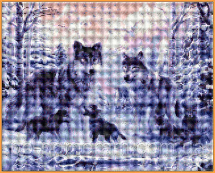 Набор алмазная вышивка Babylon Волчье семейство (ST466) 40 х 50 см (На подрамнике)