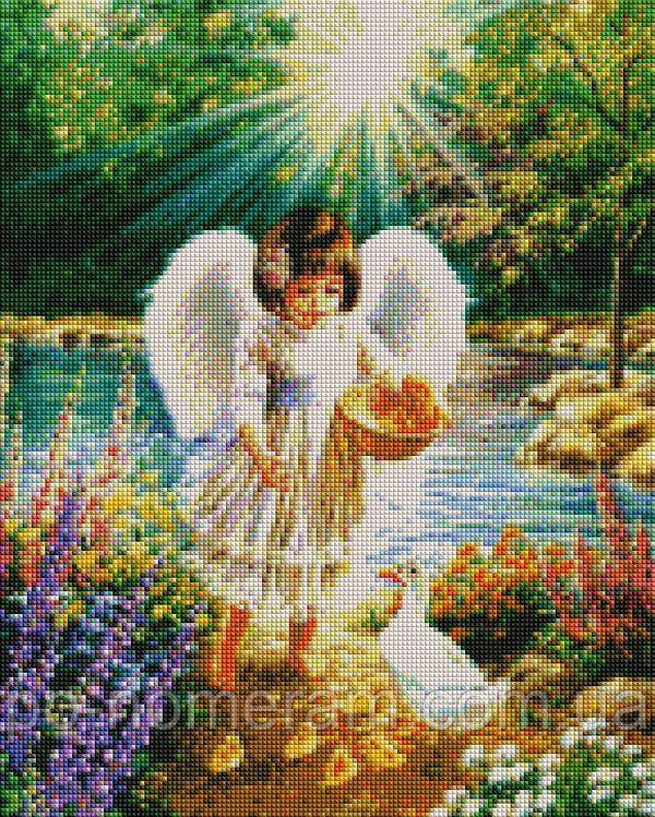 Картина алмазная вышивка Babylon Ангелочек и утята (ST902) 40 х 50 см (На подрамнике)