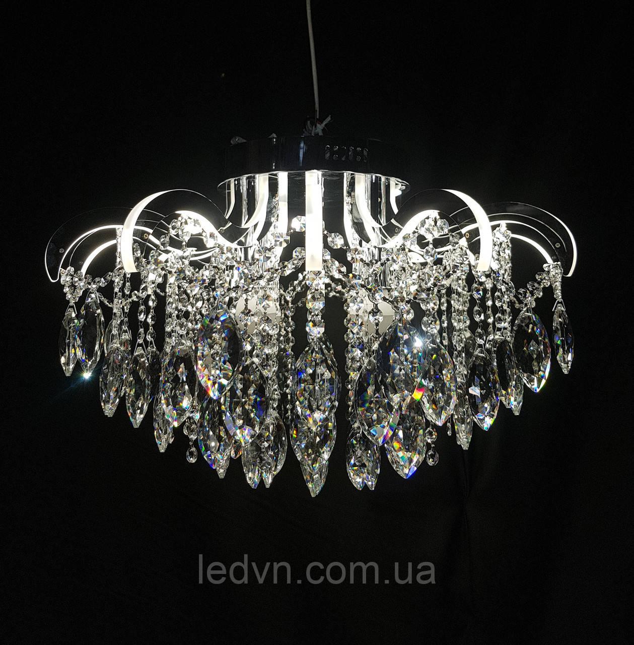Хрустальная люстра со светящимися рожками LED 3+8 50см диаметр