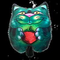 Антистрессовая подушка-игрушка «Кот с подарком» велюр (с клубникой). Размер: 25*28 см.