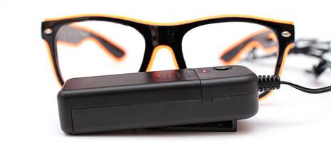 Светодиодные неоновые светящиеся ЛЕД очки прозрачные комплект с инвентором LED Neon Party Glasses, фото 3