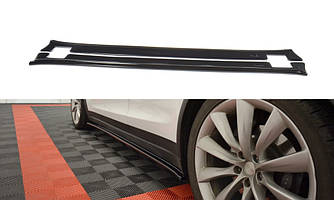 Пороги Tesla Model X тюнинг накладки юбки сплиттер (V1)
