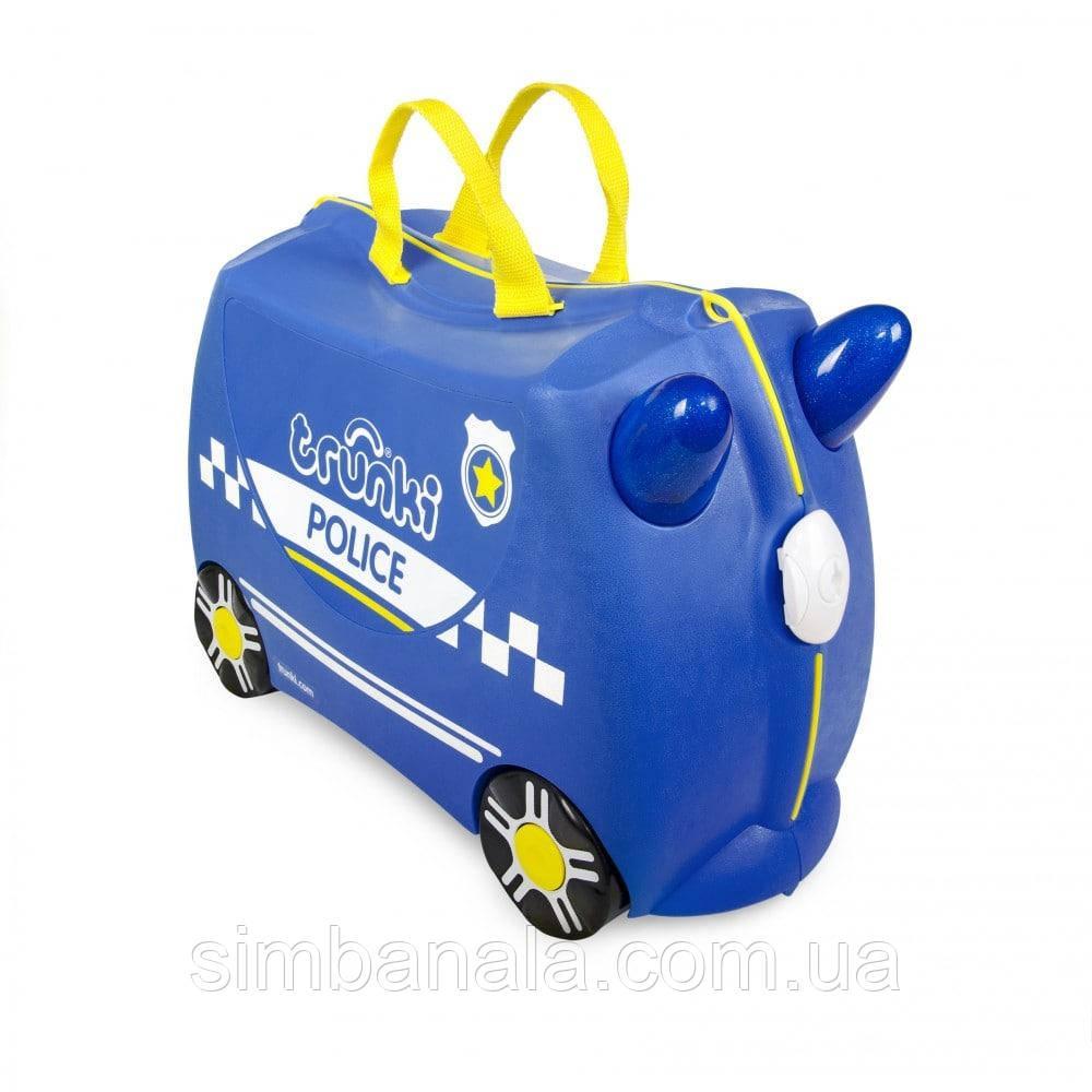 Синий чемоданчик Trunki Percy Police Car (0323-TRU + наклейки)