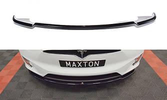 Сплиттер Tesla Model X тюнинг губа диффузор переднего бампера (V1)