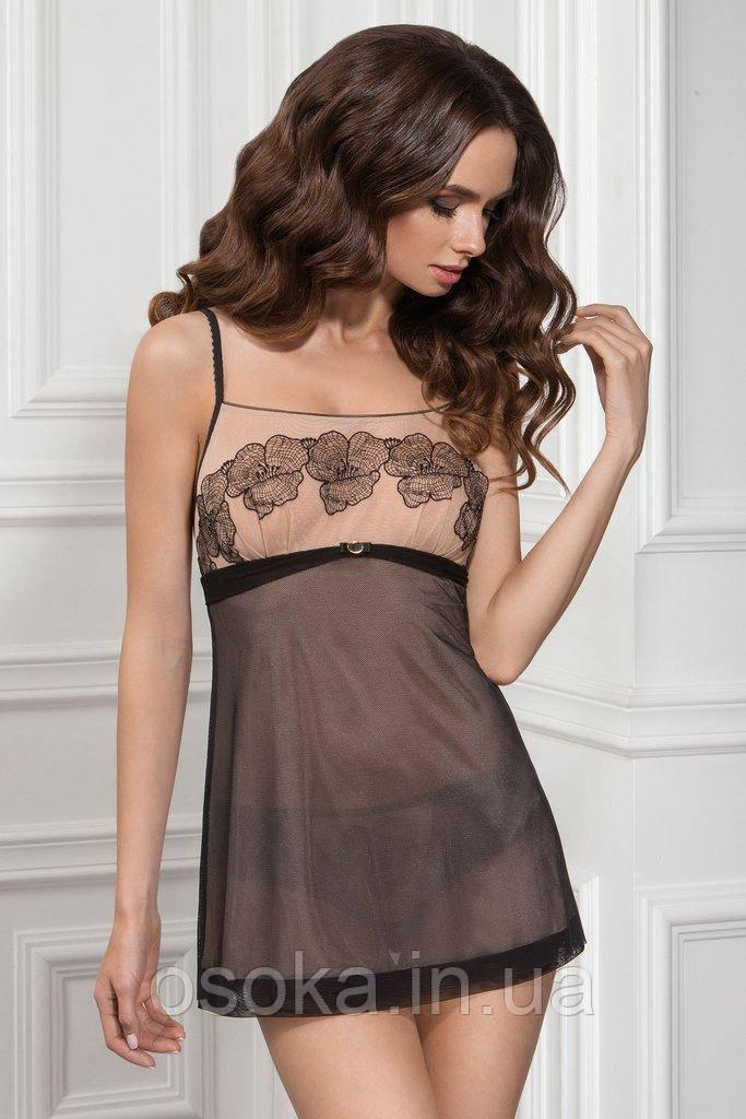 Ночная сорочка с австрийской вышивкой Jasmine 8124/82 Beatrice black/beige