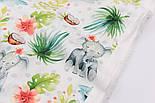 """Хлопок с цифровой печатью """"Слоны и кокосы"""" на белом № 2277, фото 2"""