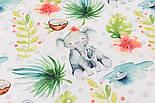 """Хлопок с цифровой печатью """"Слоны и кокосы"""" на белом № 2277, фото 5"""