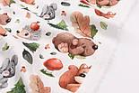 """Хлопок с цифровой печатью """"Белки и медведи, ёлки и грибы"""" на белом № 2278, фото 2"""