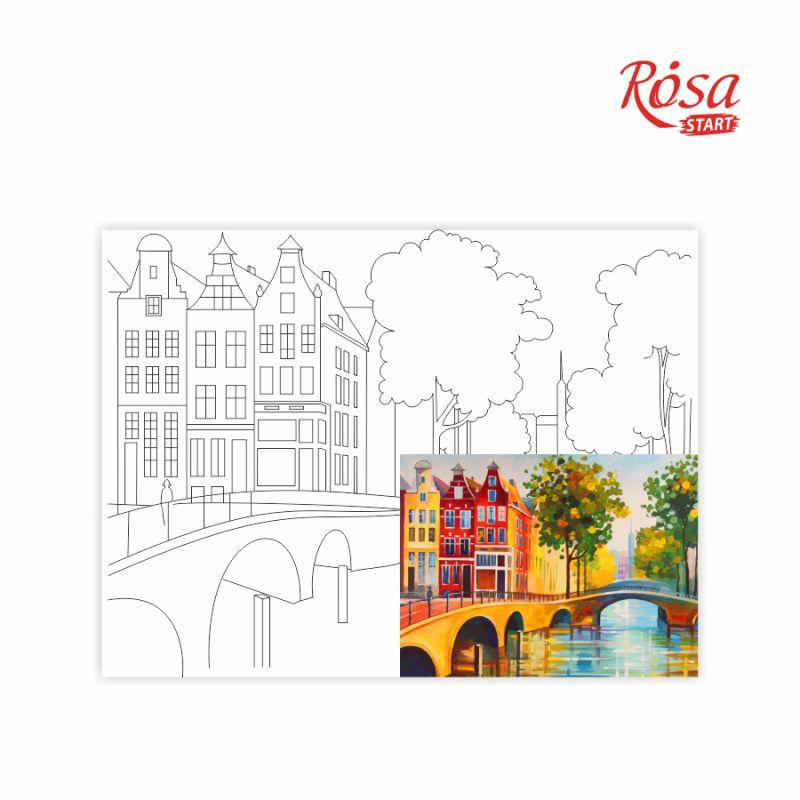 "Холст на картоне с контуром, Города ""Амстердам"", 30*40, хлопок, акрил, ROSA START"
