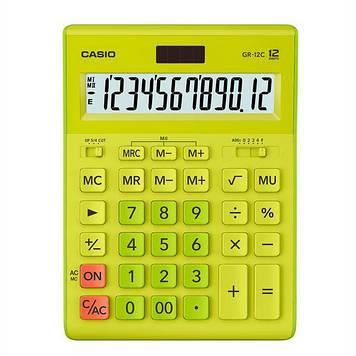 Калькулятор Casio  GR-12C-GN-W-EP бухгалтерский 12р., зелено-желтый