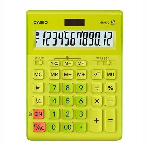 Калькулятор Casio  GR-12C-GN-W-EP бухгалтерский 12р., зелено-желтый, фото 2