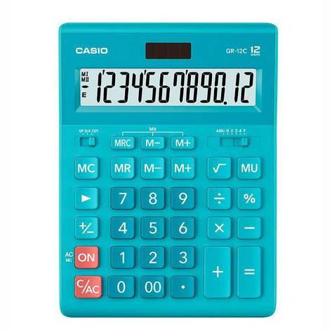 Калькулятор Casio  GR-12C-LB-W-EP бухгалтерский 12р., голубой, фото 2