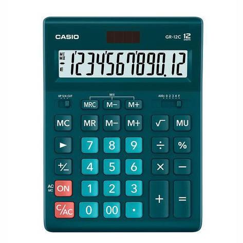Калькулятор Casio  GR-12C-DG-W-EP бухгалтерский 12р., бирюза, фото 2