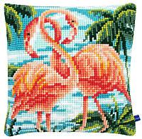 """PN-0155019 Набор для вышивания крестом (подушка) Vervaco Flamingos """"Фламинго"""""""