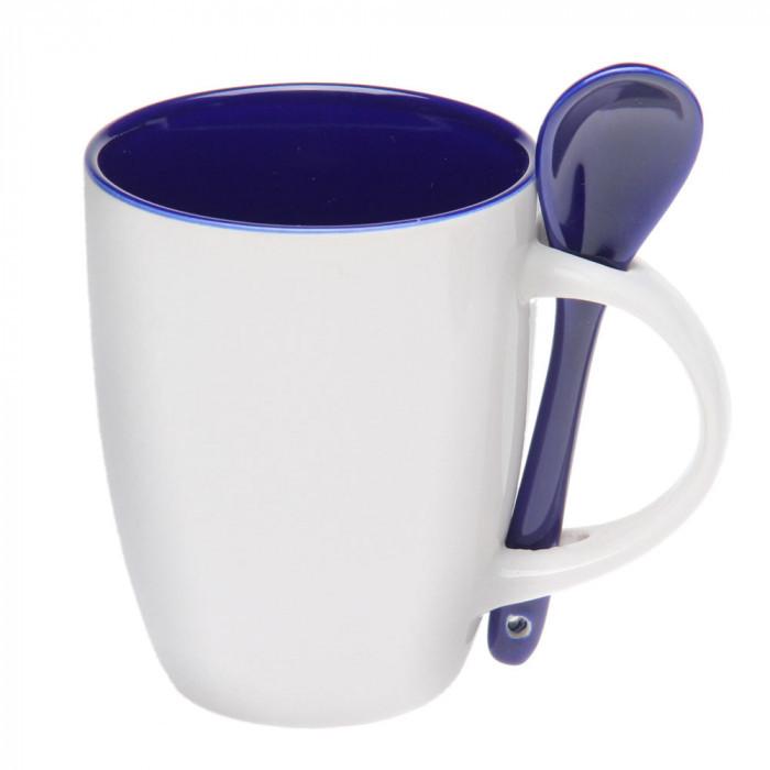 Чашка с ложкой керамика 300 мл, розница + опт \ es - 882102