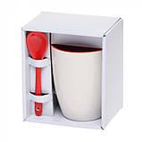 Чашка с ложкой керамика 300 мл, розница + опт \ es - 882102, фото 8