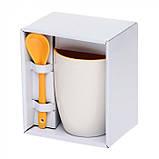 Чашка с ложкой керамика 300 мл, розница + опт \ es - 882102, фото 9