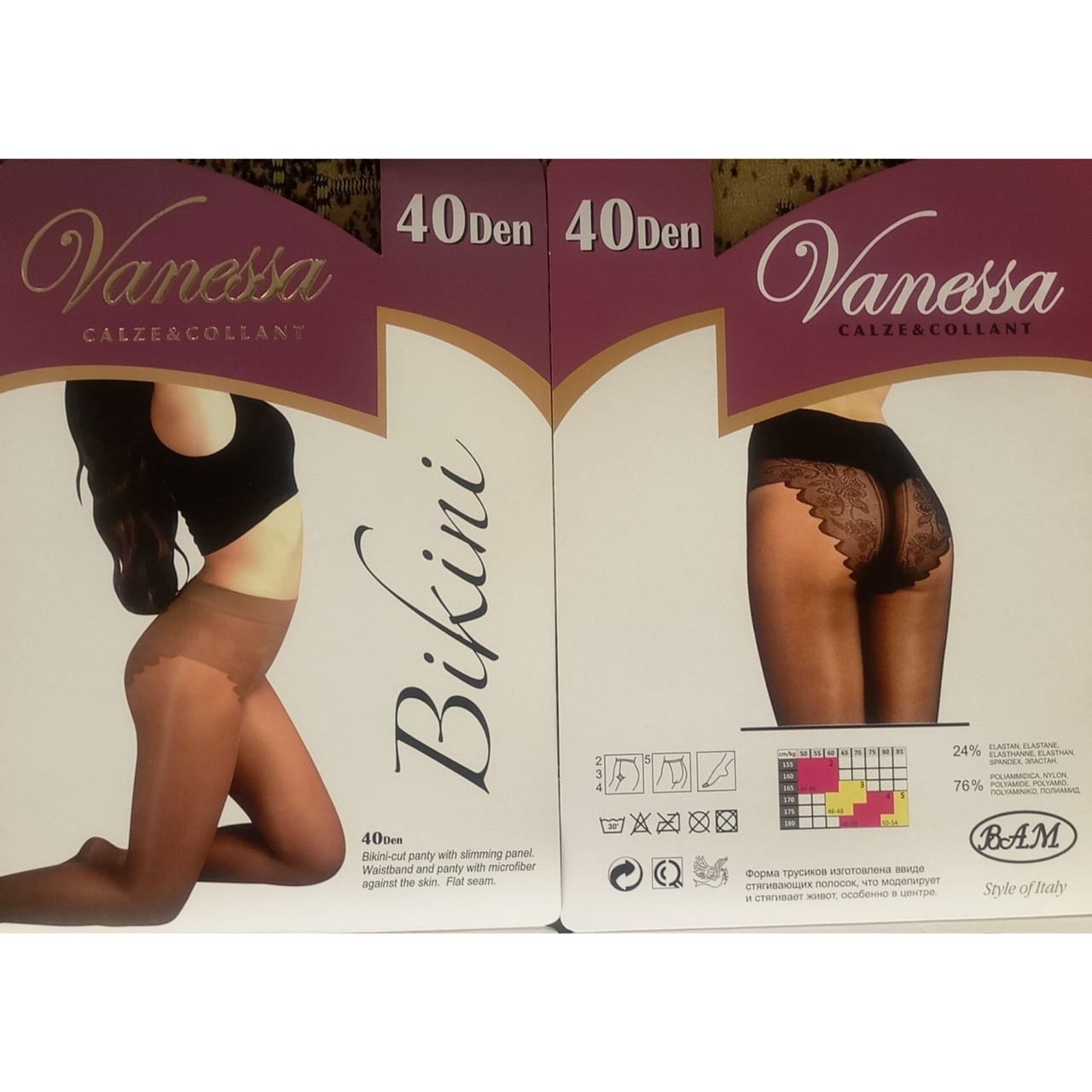 Колготки женские Vanessa классические, с ажурными трусиками, 40 den.