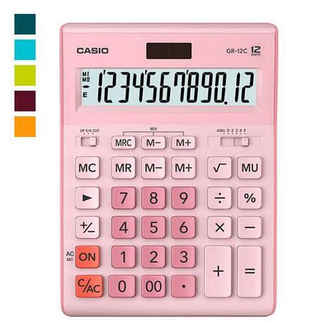 Калькулятор Casio  GR-12C-PK-W-EP бухгалтерский 12р., розовый, фото 2