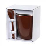 Чашка с ложкой керамика 300 мл, розница + опт \ es - 882101, фото 2