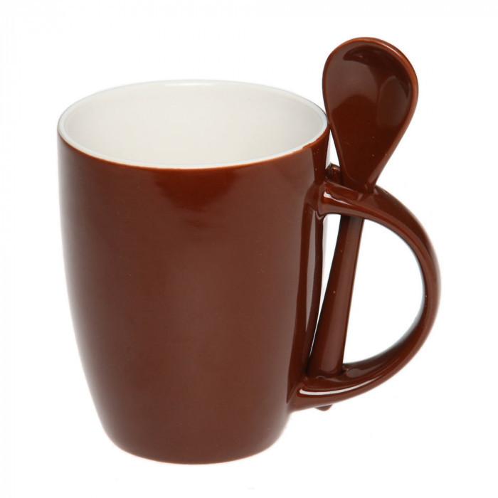 Чашка с ложкой керамика 300 мл, розница + опт \ es - 882101