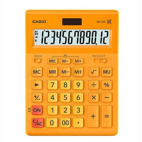 Калькулятор Casio  GR-12C-RG-W-EP бухгалтерский 12р., оранжевый, фото 2