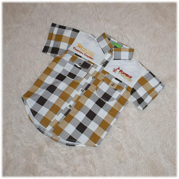 Рубашка детская на мальчика в клетку с коротким рукавом размер 110 116