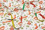 """Хлопок с цифровой печатью """"Лисички с кленовыми листочками"""" на белом № 2280, фото 3"""