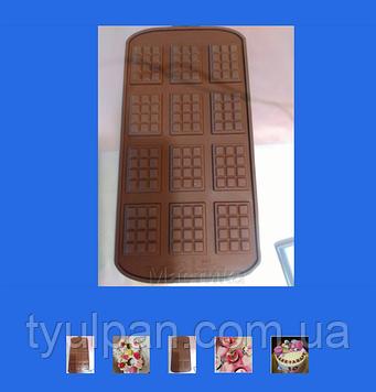 Силиконовый молд для моделирования мини  маленькая шоколадка плитка 12шт