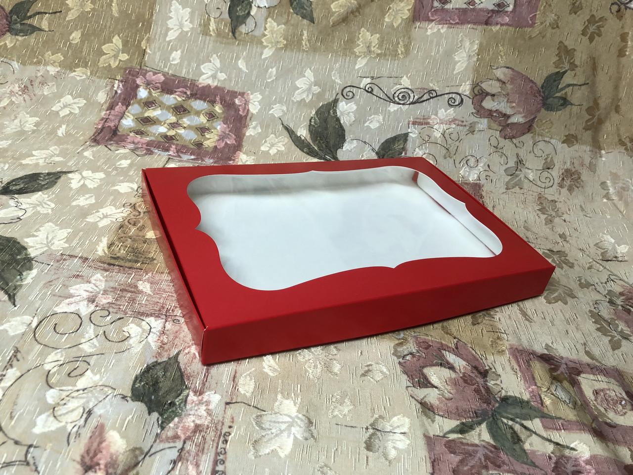Коробка для пряников / 300х200х30 мм / печать-Красн / окно-обычн / лк