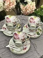 Набор чайный с блюдцами Розалия 18 предметов