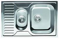 Мойка кухонная Cristal UA7301ZS (CALIPSO)  прямоуг. 2-ная  с полкой, врезная 780x500x180 Polish