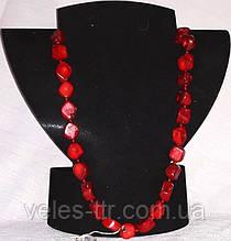 Бусы Коралл красный галтовка ромбовидная 15х13х10 мм 54 см