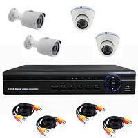 Комплект AHD видеонаблюдения 720P для самостоятельной установки с 2-мя купольными +2 уличными камерами