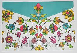 "Папка-конверт А4, на кнопке ""Цветы"", бирюза"