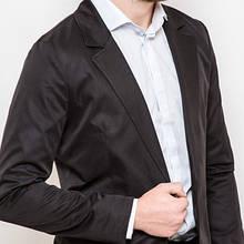 Мужской стильный пиджак приталенный черный