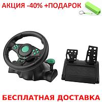 Игровой мультимедийный универсальный руль vibration steering wheel ps3 ps2 pc USB Original size+ powerbank