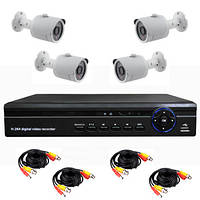 Готовый уличный комплект AHD видеонаблюдения 720P для самостоятельной установки с 4-мя уличными камерами