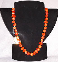 Бусы Коралл оранжевый Столбик галтовка 10х8 мм 50 см
