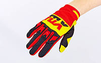 Кроссовые перчатки текстильные FOX  (закр.пальцы, р-р M-XL, красный-желтый-черный)