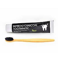 Зубная паста с активированным углем и Зубная щетка из бамбука с древесно-угольной щетиной
