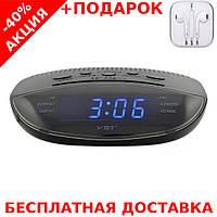 Часы сетевые VST 908-1 электронные радиочасы с подсветкой + наушники